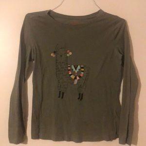 Girl's Cat & Jack Olive Green Llama Shirt